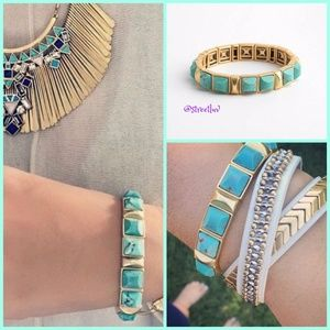 stella & dot ~ sawyer stretch turquoise bracelet